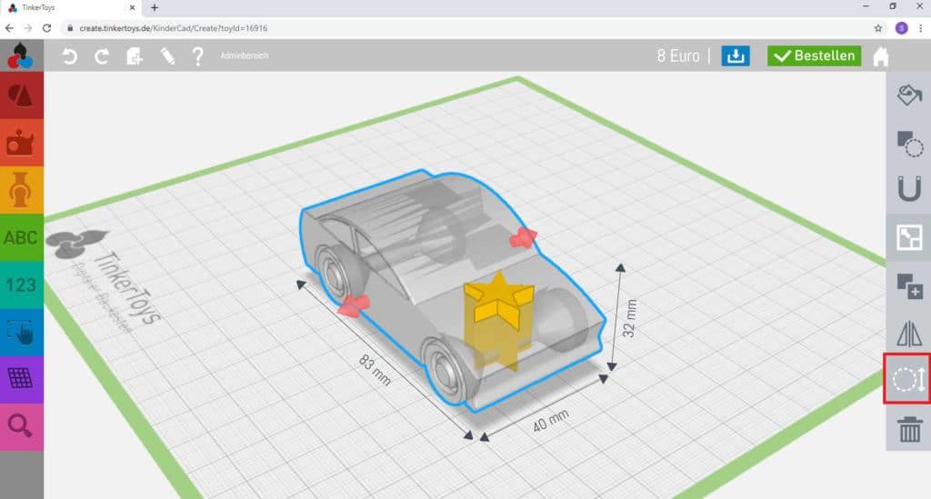 So funktioniert TinkerSchool für Ultimaker 3D Drucker in der Schule - Schritt 1 - Nutzen Sie die Inspektor-Funktion zur Überprüfung der 3D-Modelle im Digitalen Baukasten
