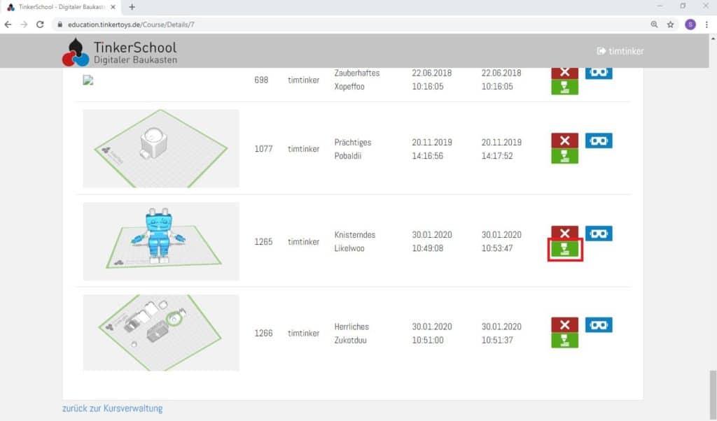 So funktioniert TinkerSchool für Ultimaker 3D Drucker in der Schule - Schritt 2 - In der Kursverwaltung wählen Sie im jeweiligen Kurs das grüne Icon für den 3D-Druck Export