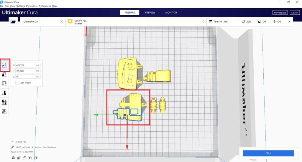 So funktioniert TinkerSchool für Ultimaker 3D Drucker in der Schule - Schritt 7 - Objekte sollten auf dem Druckbett nicht ineinandergeschoben sein
