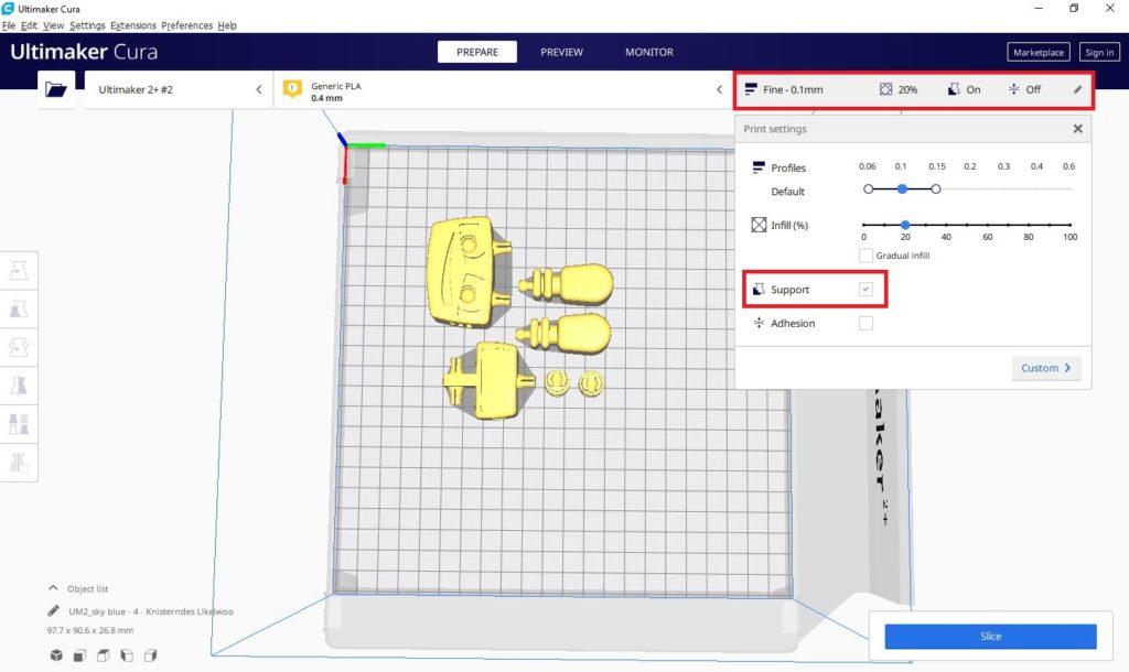 So funktioniert TinkerSchool für Ultimaker 3D Drucker in der Schule - Schritt 8 - Wählen Sie die automatische Erstellung von Stützmaterial aus