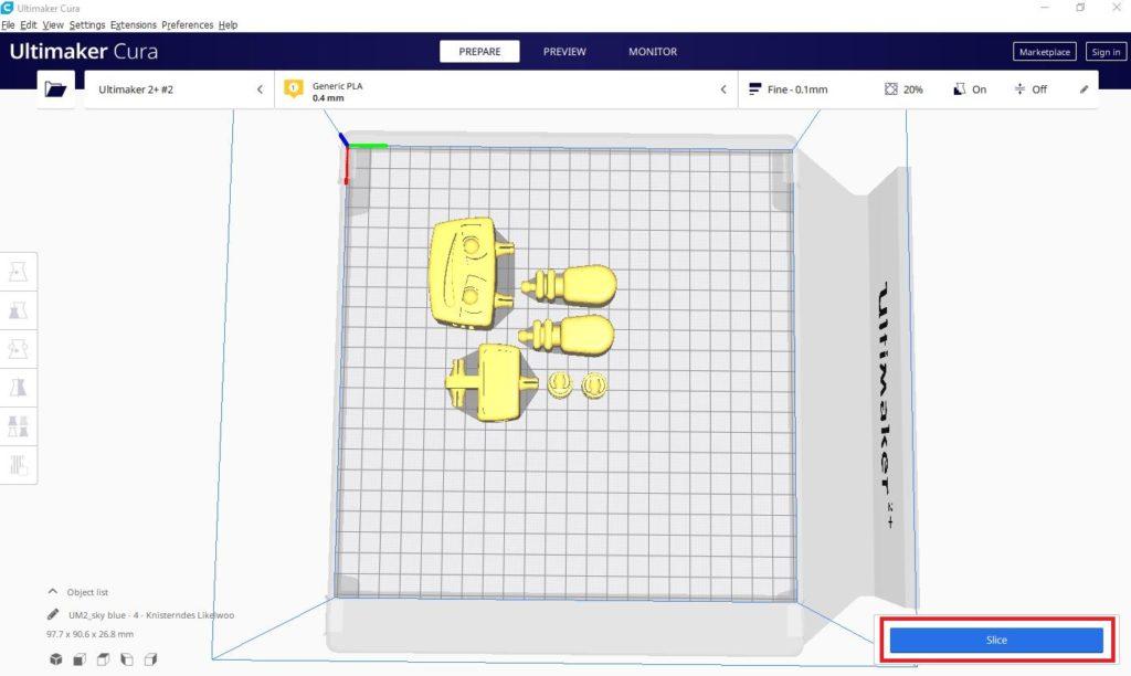 """So funktioniert TinkerSchool für Ultimaker 3D Drucker in der Schule - Schritt 9 - Klicken Sie auf """"Slice"""" um den Vorgang zu starten"""