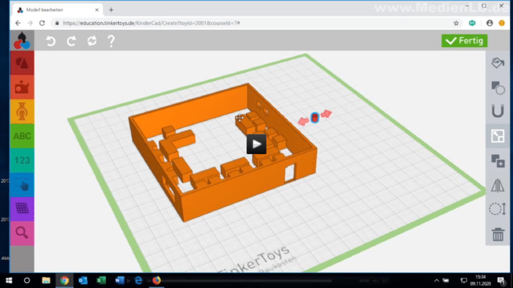 Lehrfilm: 3D-Konstruktion und 3D-Druck im Unterricht mit TinkerSchool - Konstruktionsbeispiel 1