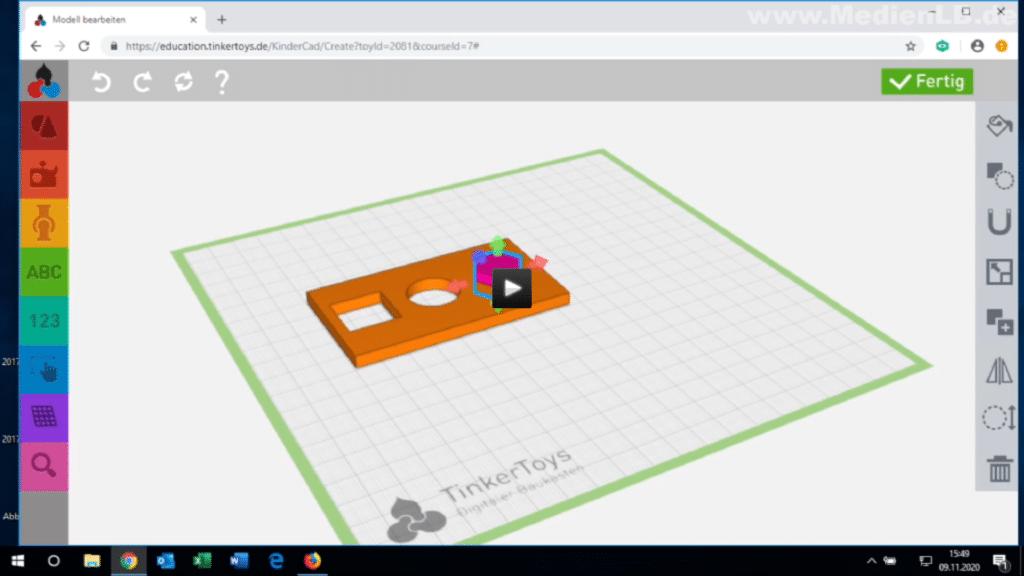 Lehrfilm: 3D-Konstruktion und 3D-Druck im Unterricht mit TinkerSchool - Konstruktionsbeispiel 2